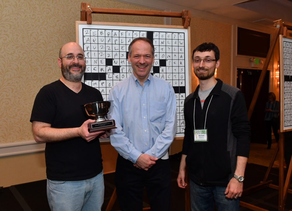 Will Shortz with Dan Feyer (left) and Mike-Shteyman (right) at the 2017 American Crossword Puzzle Tournament // Photo by Don Christensen
