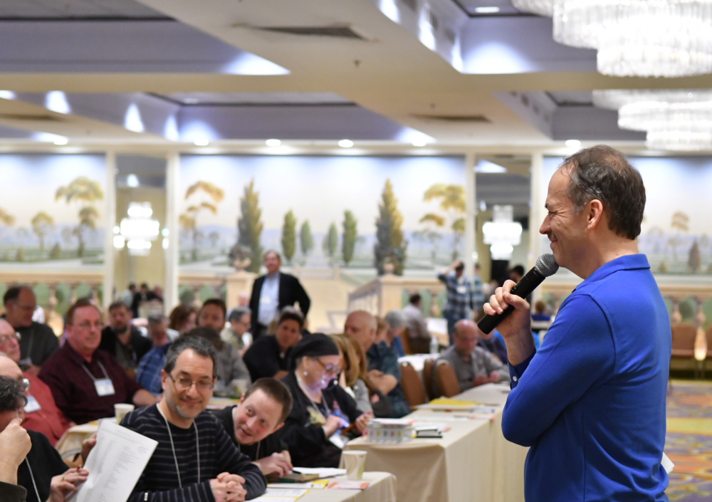 Will Shortz speaks at a crossword tournament // Photo by Don Christensen