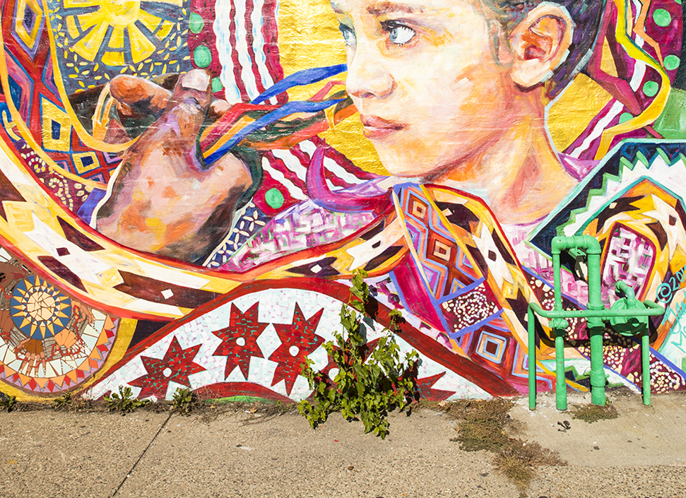 "Part of the ""BRAIDED"" mural created by Greta McLain // Photo by Tj Turner"