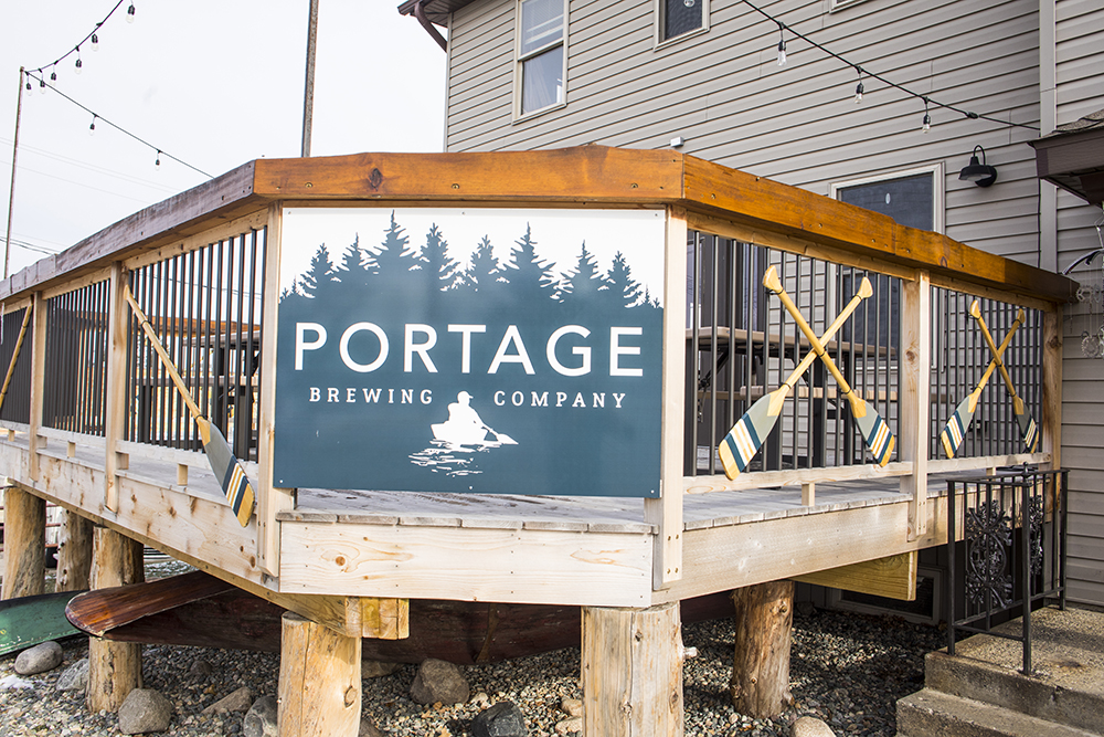 Portage Brewing's newly finished deck and outside libation area // Photo by Tj Turner