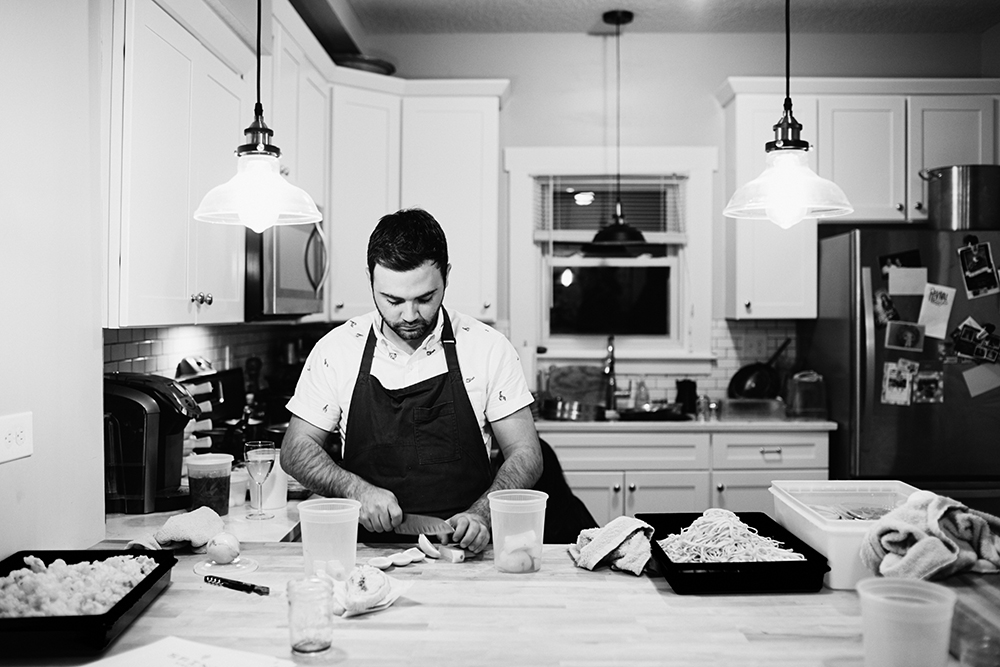 Adam Eaton prepares his Moose Bolognese // Photo by Wing Ta
