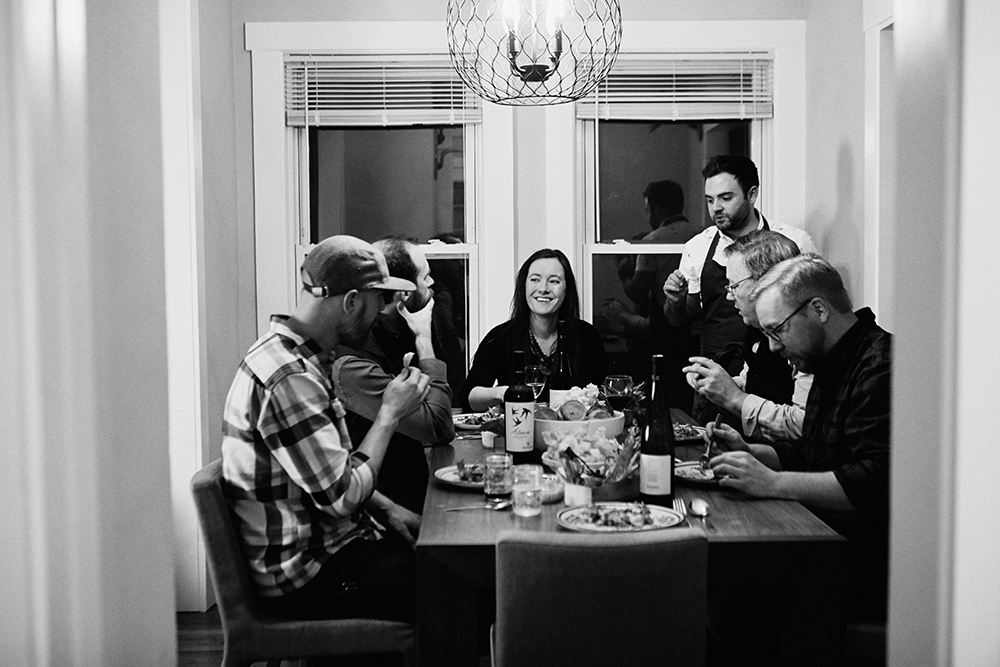 Adam Eaton with (who is all in this picture and where in the picture) serving his creations // Photo by Wing Ta