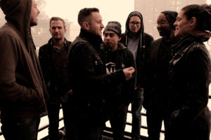 The Doomtree Collective members; (from left to right) Lazerbeak, Cecil Otter, SIMS, Mike Mictlan, Paper Tiger, P.O.S., and Dessa // Photo by Ben LaFond