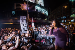 Lizzo flew home so she could perform during the block party to celebrate the life and music of Prince outside First Ave. nightclub in Minneapolis on April 21, 2016 // A Growler Magazine Photo