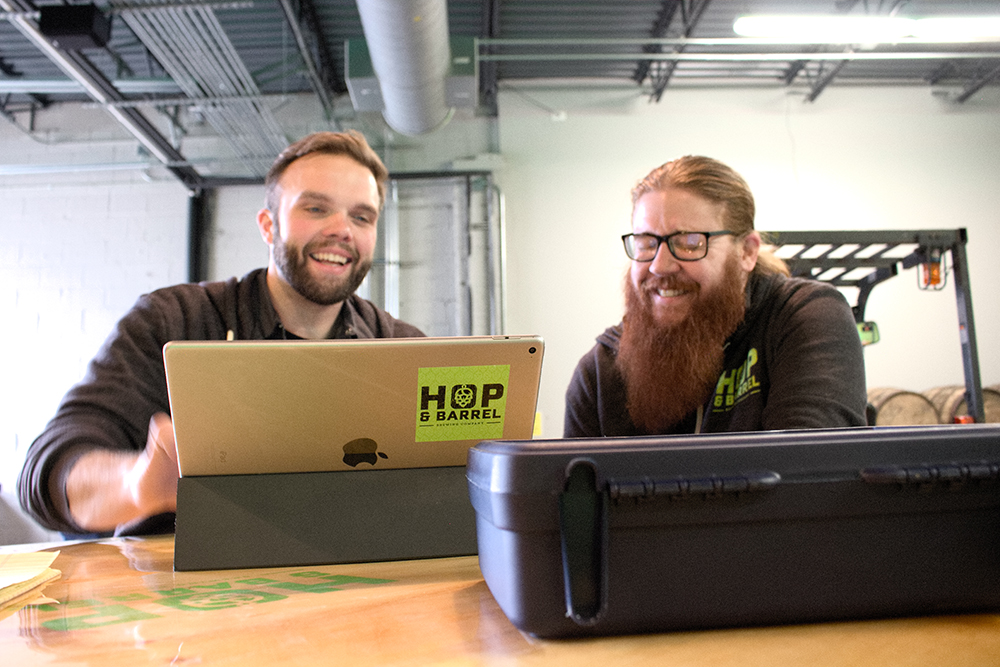 Justin Terbeest and Brian Priefer, co-founders of Hop & Barrel Brewing Company // Photo by Aaron Job