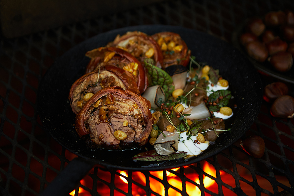 Thomas Boemer's pork shoulder and chestnuts // Photo by Wing Ta