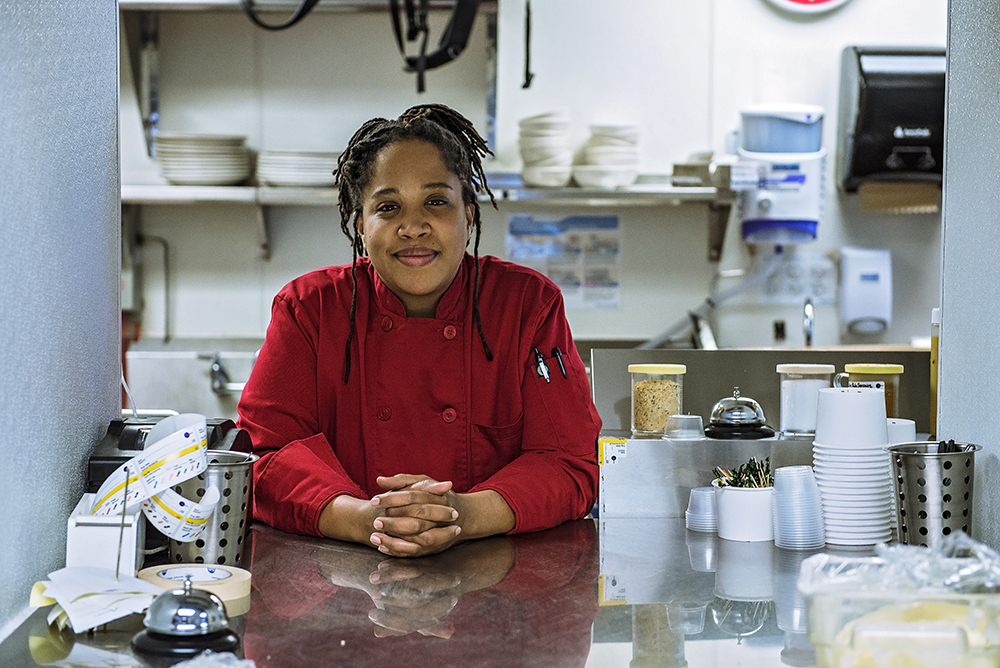Lachelle Cunningham in the kitchen at Breaking Bread in North Minneapolis // Photo by Madalyn Rowell