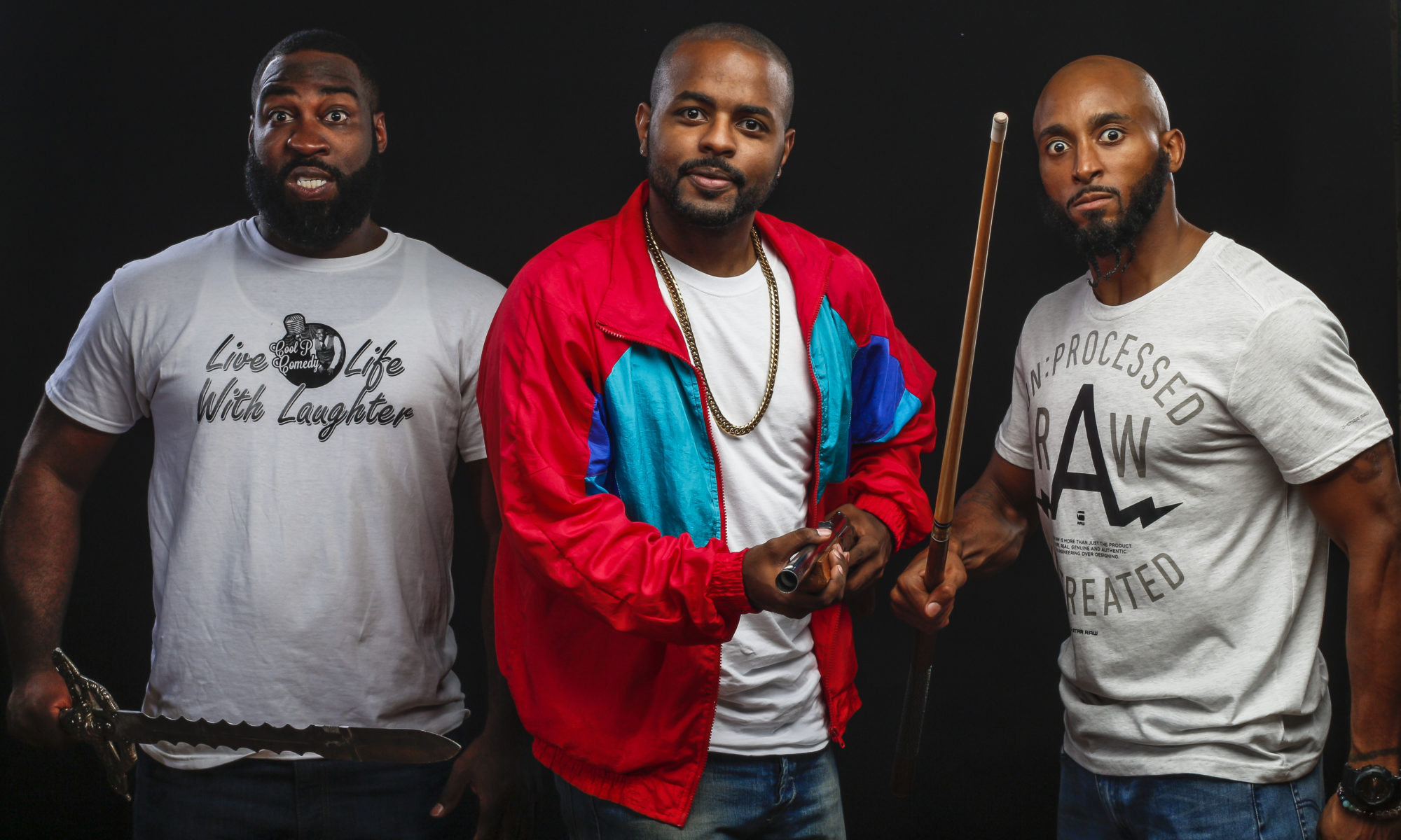 Bruce Leroy Williams, Brandon Riddley and Pierre Douglas of Baddies Comedy Company // Photo courtesy Baddies Comedy Company Website