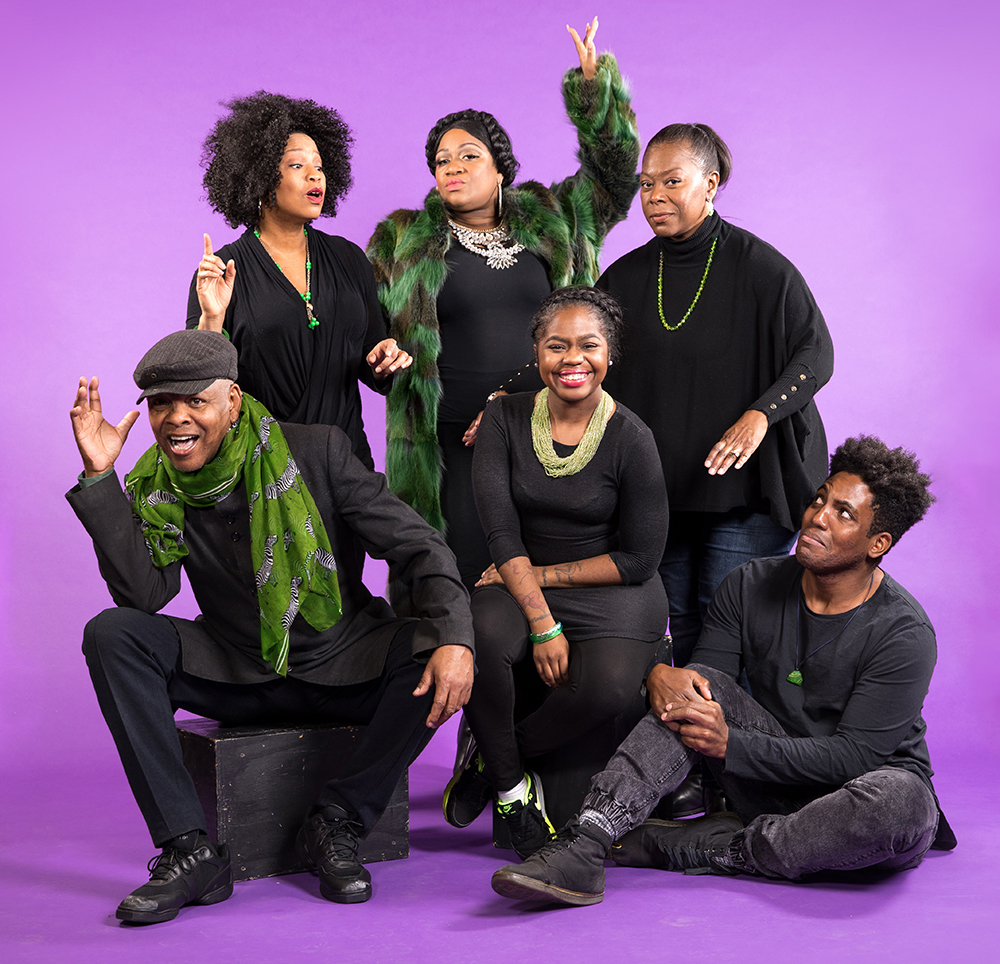 "The cast of The Wiz. Top Row from left to right: Aimee Bryant, Jamecia Bennet, Greta Oglesby. Bottom Row from left to right: Dennis Spears, Paris Bennet, Rudolph ""Tre"" Searles III // Photo by Dan Norman"