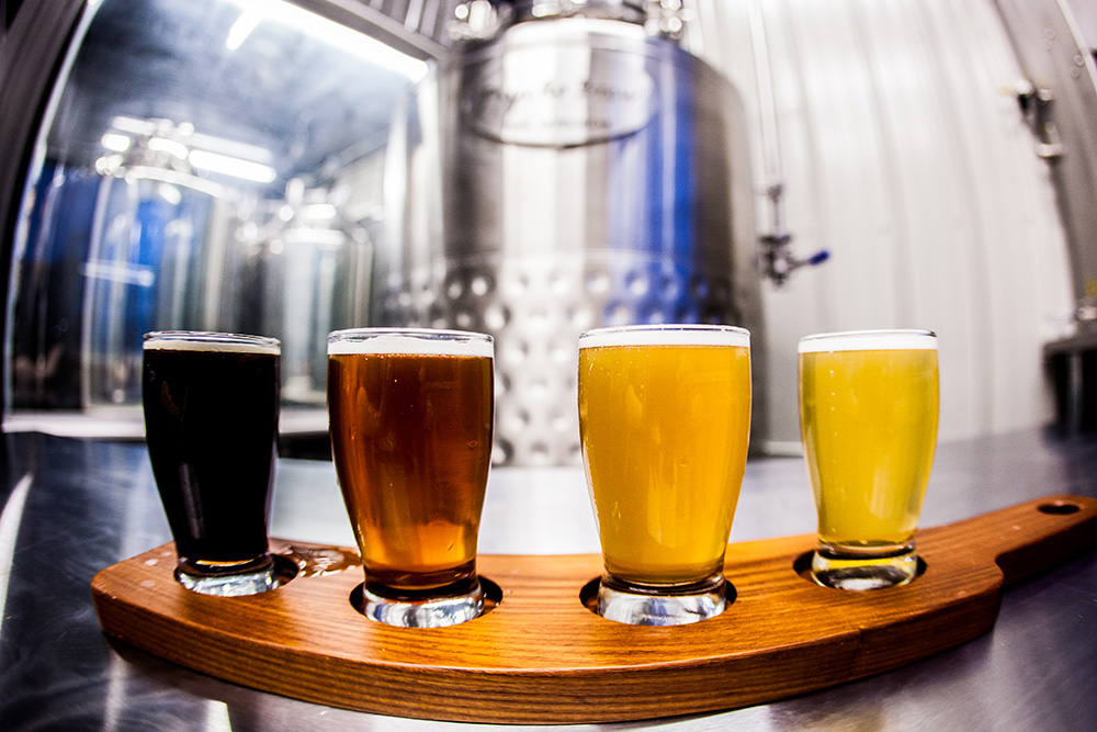 Ashby Brewing Company's current beer lineup in front of their PsychoBrew nano-brewing system // Photo by Holly Diestler