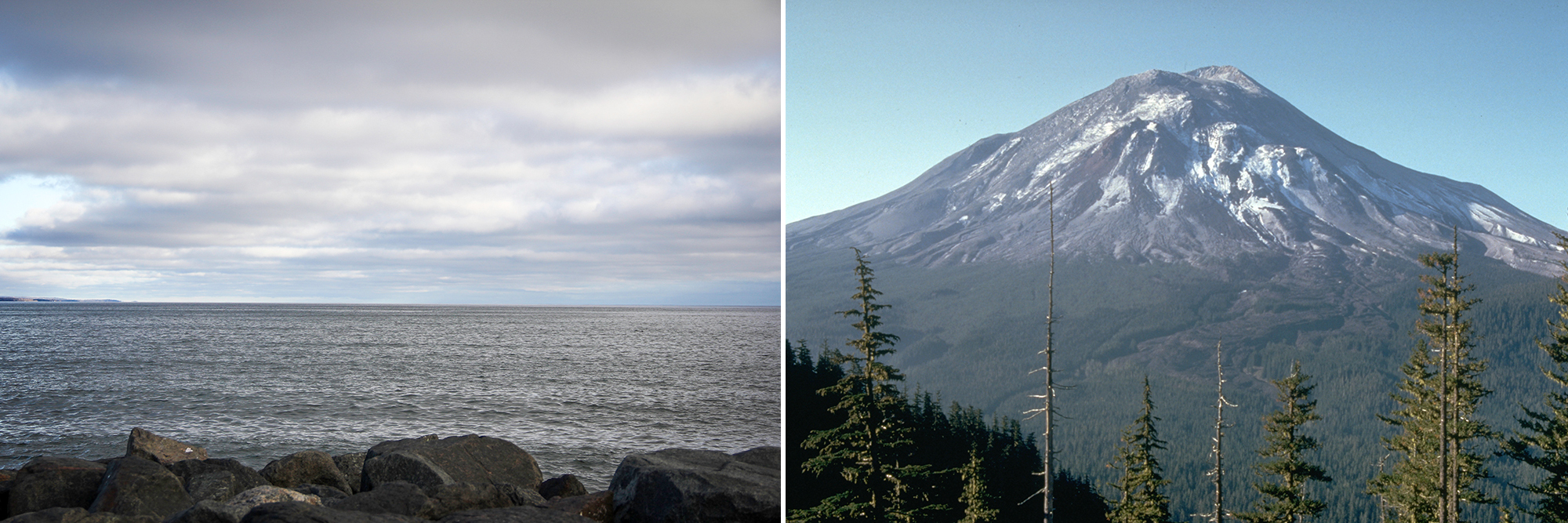 Lake Superior, on the left, and Mount St. Helens respective Twitter accounts exchanged a somewhat heated barrage of tweets // Lake Superior photo by Brian Kaufenberg; Mount St. Helens photo by Harry Glicken USGS CVO