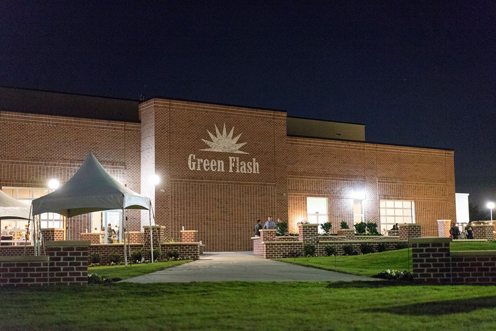 The exterior of Green Flash Brewing Company's Virginia Beach location // Photo courtesy Green Flash Brewing Company - Virginia Beach Facebook