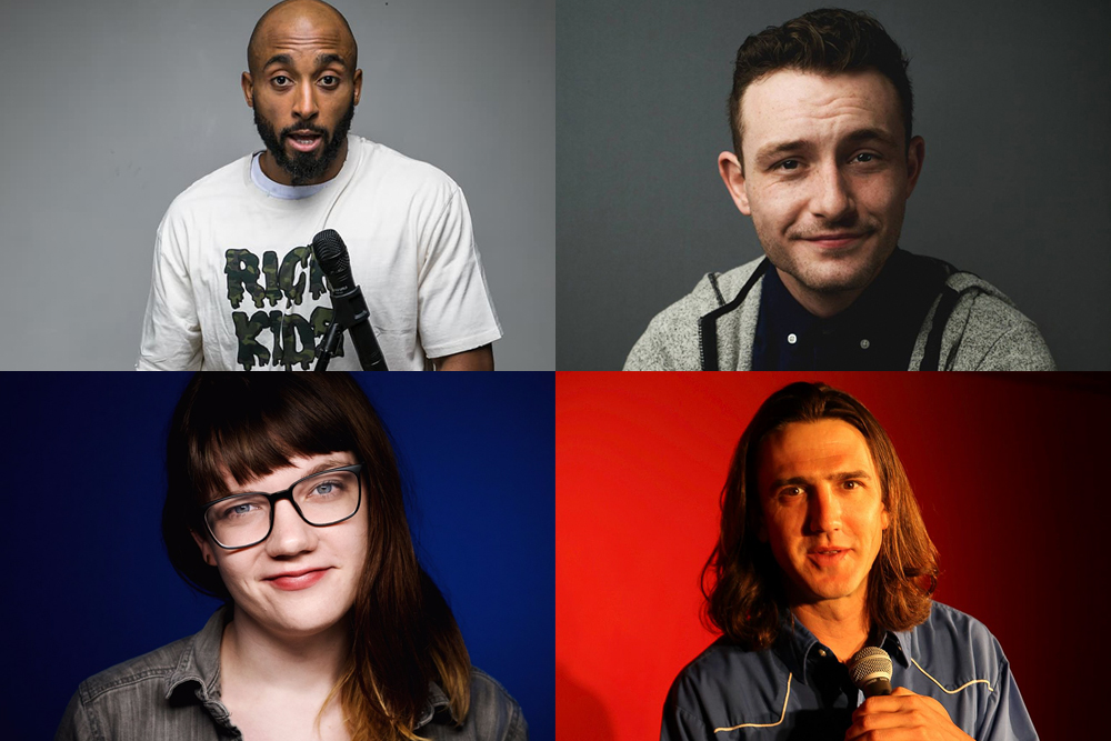 Clockwise from top left: Bruce Leroy Williams, Ryan Kahl, James Wells, and Abby Marose are four Minnesotan comedians to watch in 2018
