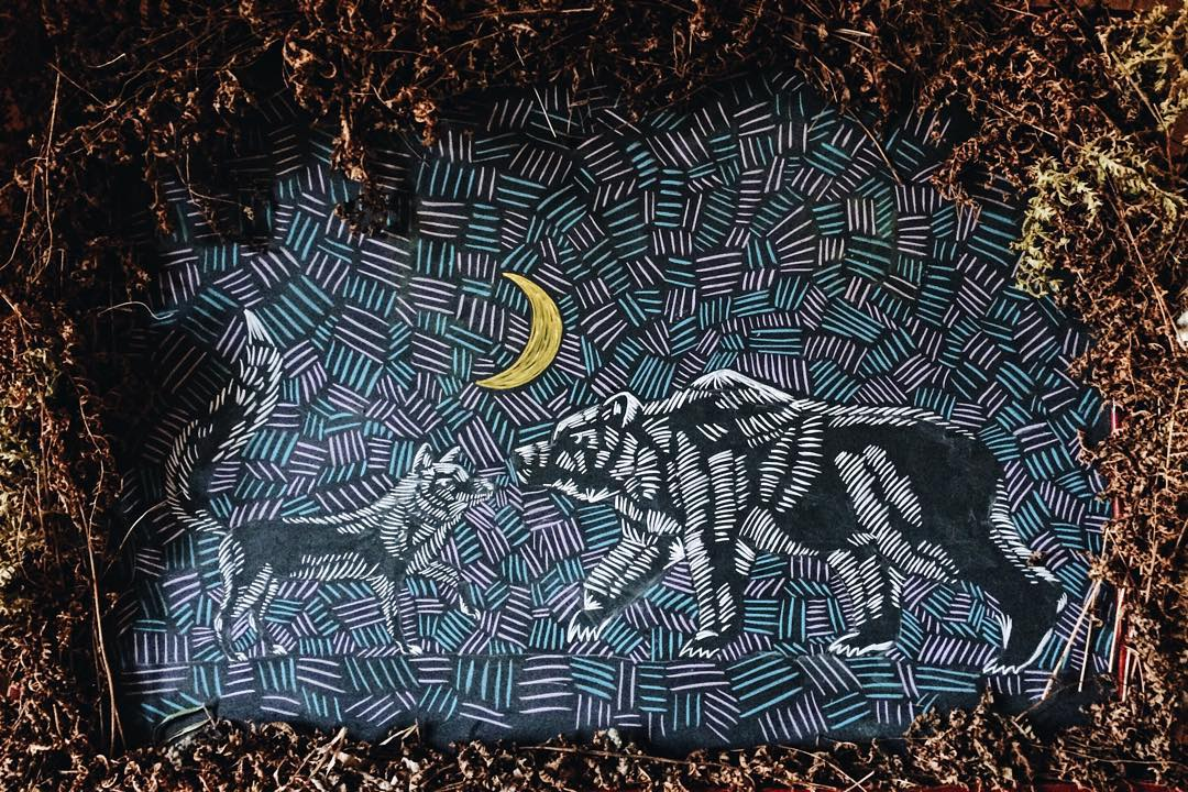 Chalk work on slate by Max Holmgren // Photo via Bear Fox Chalk's Instagram