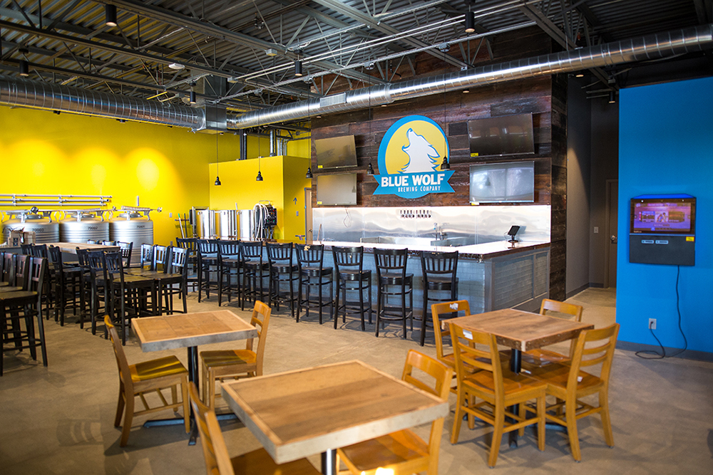 The interior of the Brooklyn Park brewery, Blue Wolf Brewing Company // Photo by Aaron Davidson