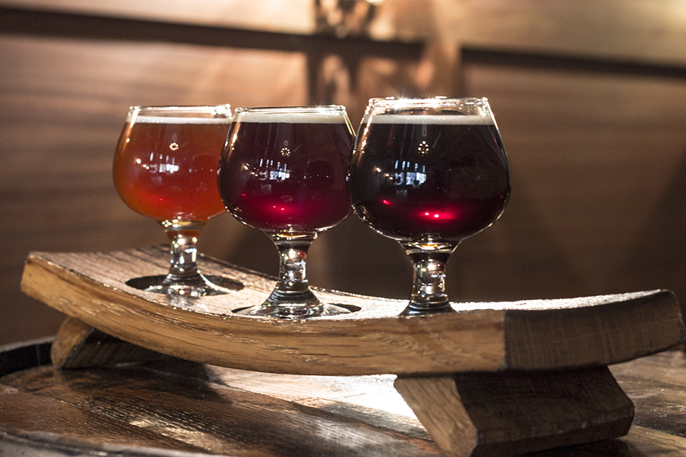 Three of the barrel-aged beers slated for Town Hall Brewery's Barrel-Aged Week kicking off this Sunday // Photo by Brian Kaufenberg