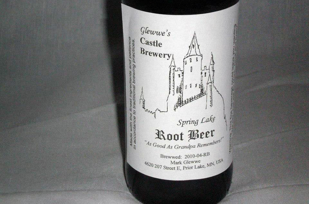 A bottle of Glewwe's Castle Brewery's Root Beer. The small family-centric brewery is located in Prior Lake, Minnesota // Photo via Glewwe's Castle Brewery Facebook