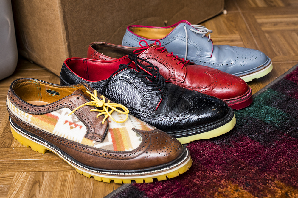 Colorful examples of Tamas Pomazi's Greenwich Vintage soles // Photo by Tj Turner