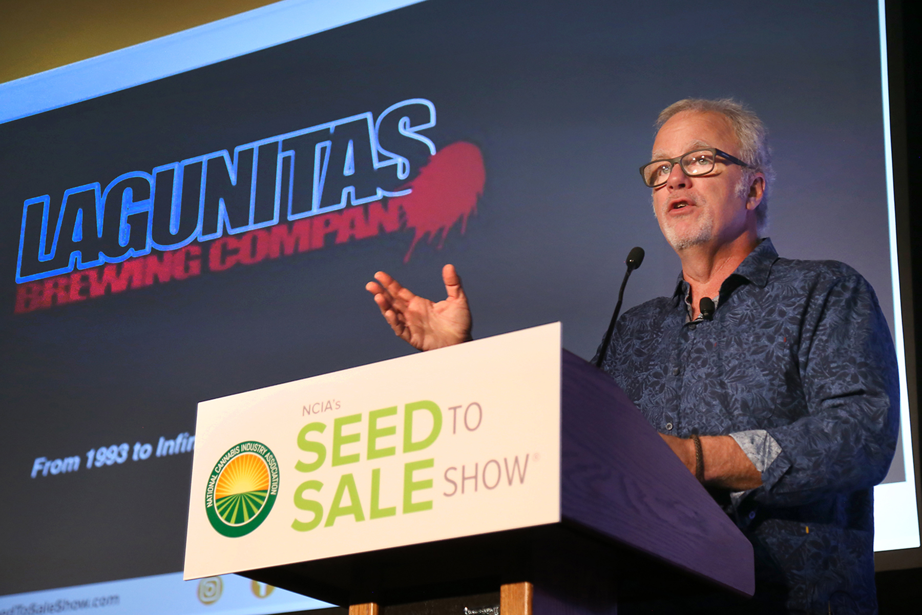 Tony Magee, founder and CEO of Lagunitas Brewing Company, gives the keynote address at the National Cannabis Industry Association's 2018 Seed to Sale Show // Photo courtesy NCIA