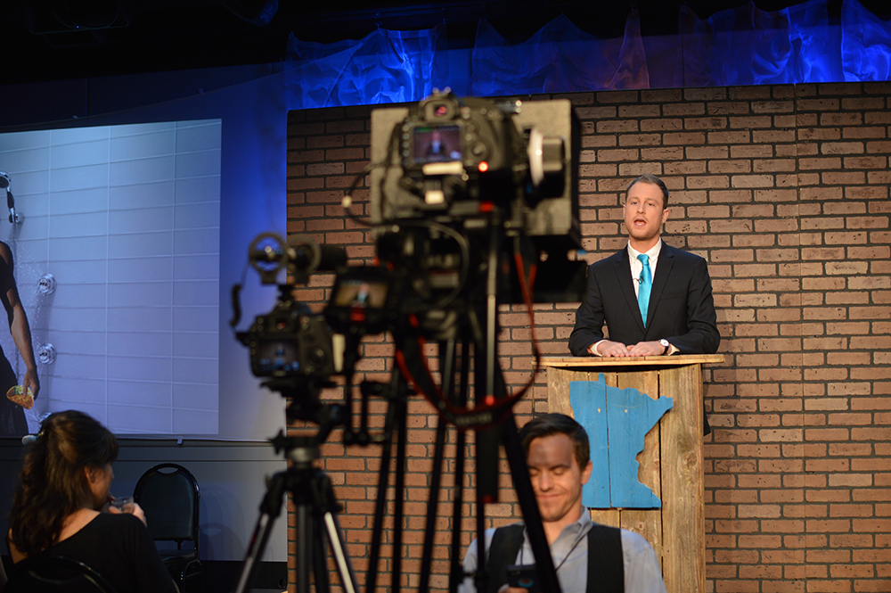 Host Jonathan Gershberg on camera at a recording of Minnesota Tonight // Photo courtesy Minnesota Tonight