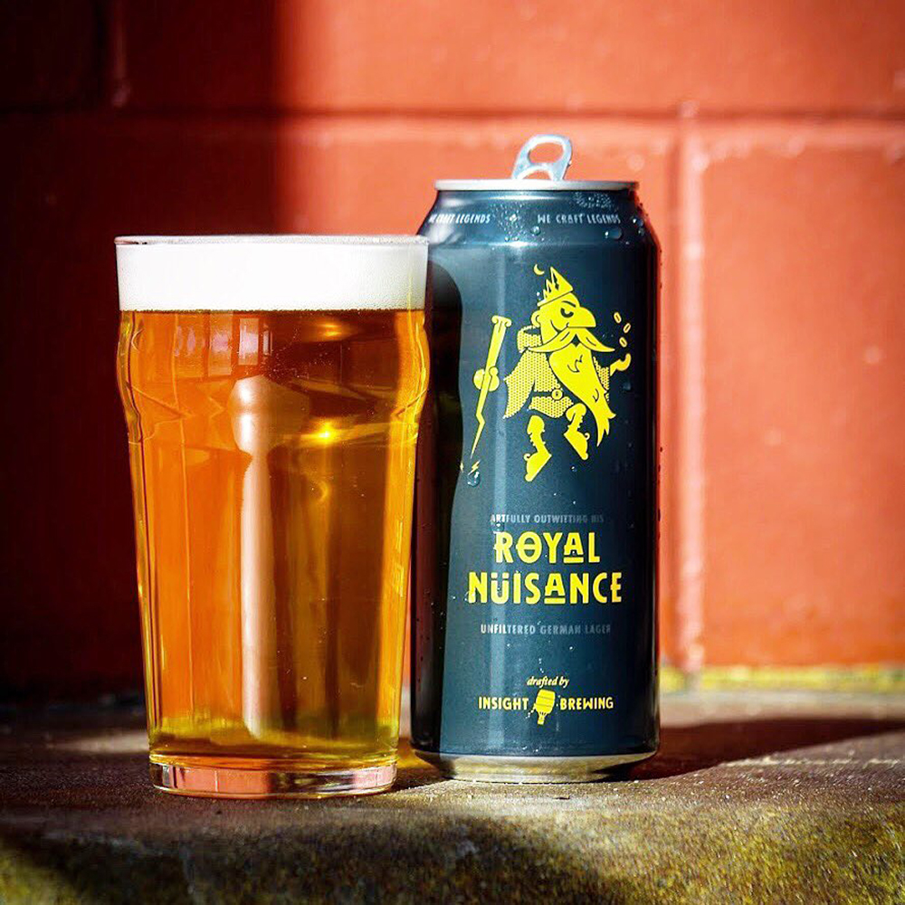 Insight Brewing Company's Royal Nuisance Unfiltered German Lager // Photo via Insight Brewing Company Twitter