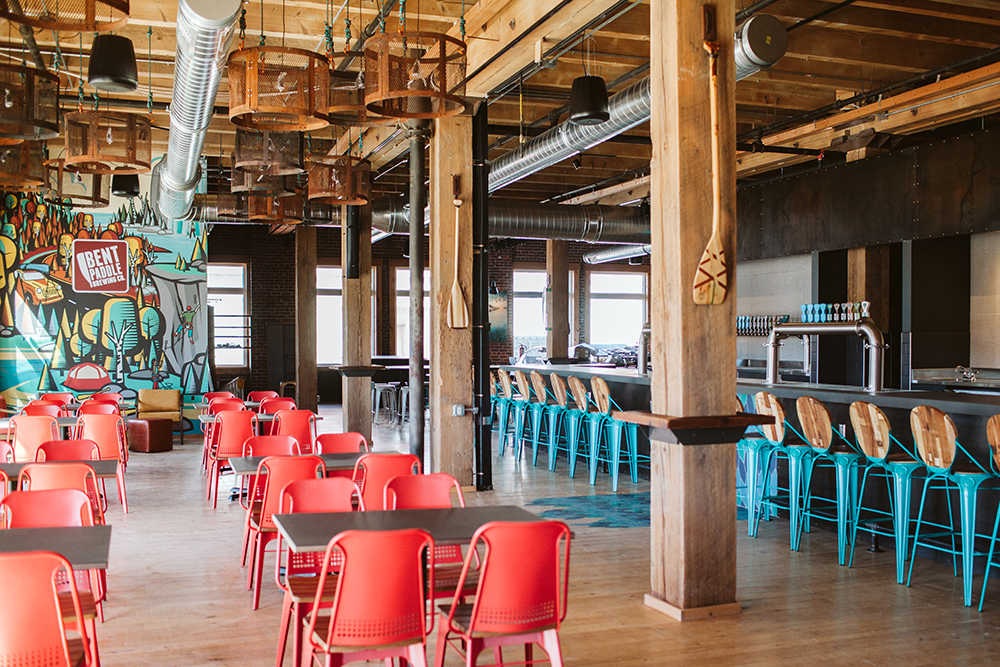 The newly remodeled interior of Bent Paddle Brewing in Duluth, Minnesota // Photo by JaneCane Photography