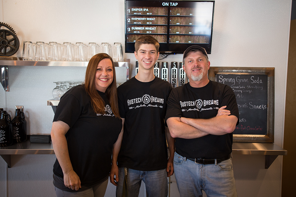 From left to right, Penny, James, and Bill Burt of Rustech Brewing in Monticello, Minnesota // Photo by Aaron Davidson