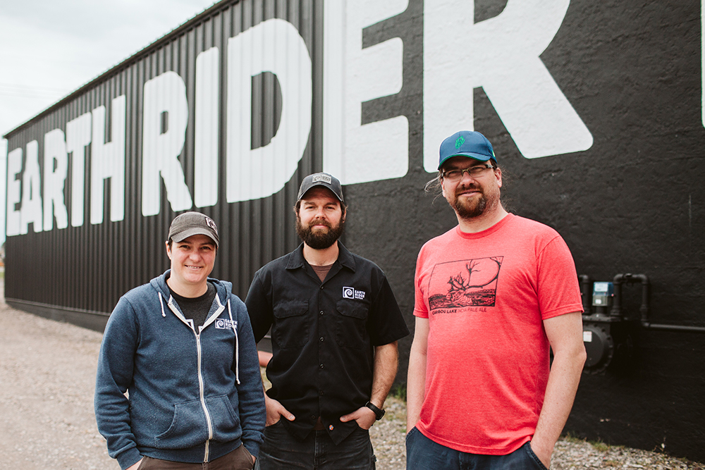 Earth Rider Brewery's brewers Allyson Rolph, Tim Wilson, and Frank Kaszuba // Photo by JaneCane Photography