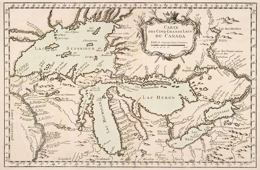 A 17th Century French map outlining the Great Lakes // Image courtesy the Minnesota Historical Society