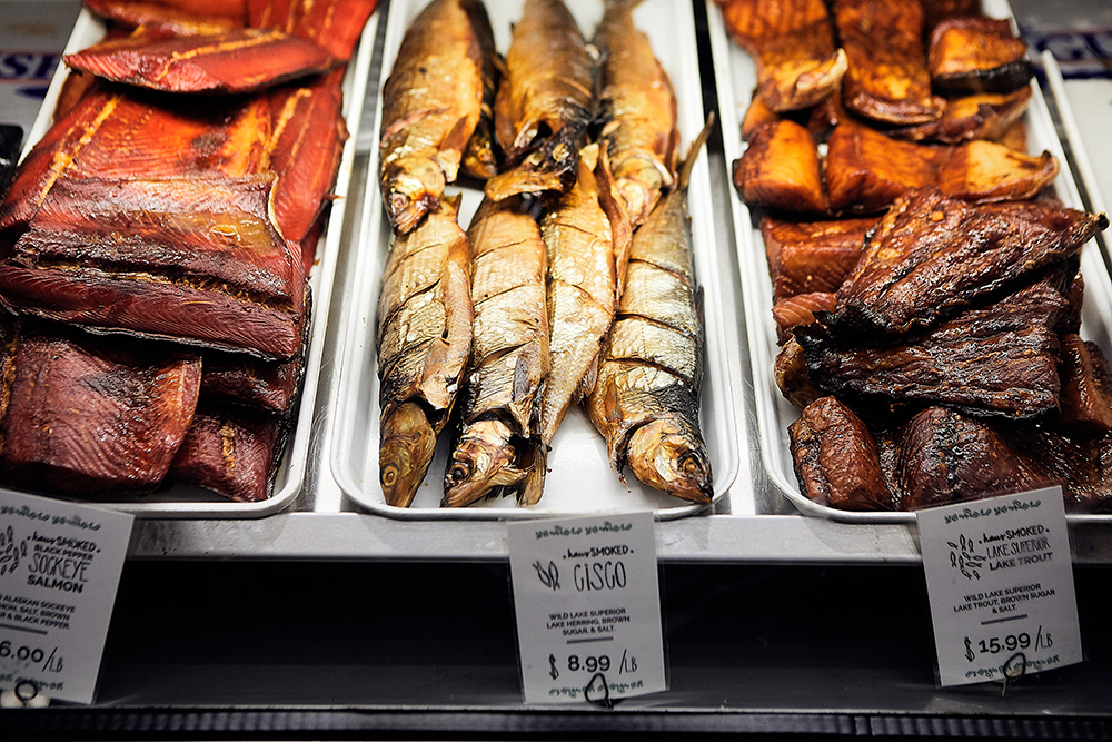 A selection of smoked fish available at Northern Water Smokehaus // Photo by Wing Ta