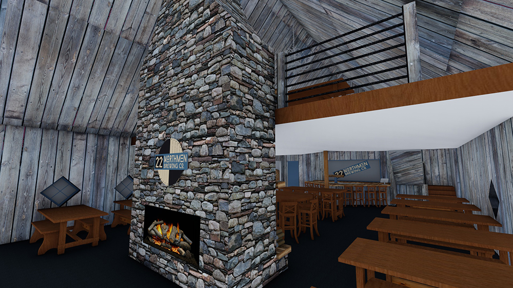 A rendering of the interior of the 22 Northmen Brewing Building // Photo courtesy 22 Northmen Brewing