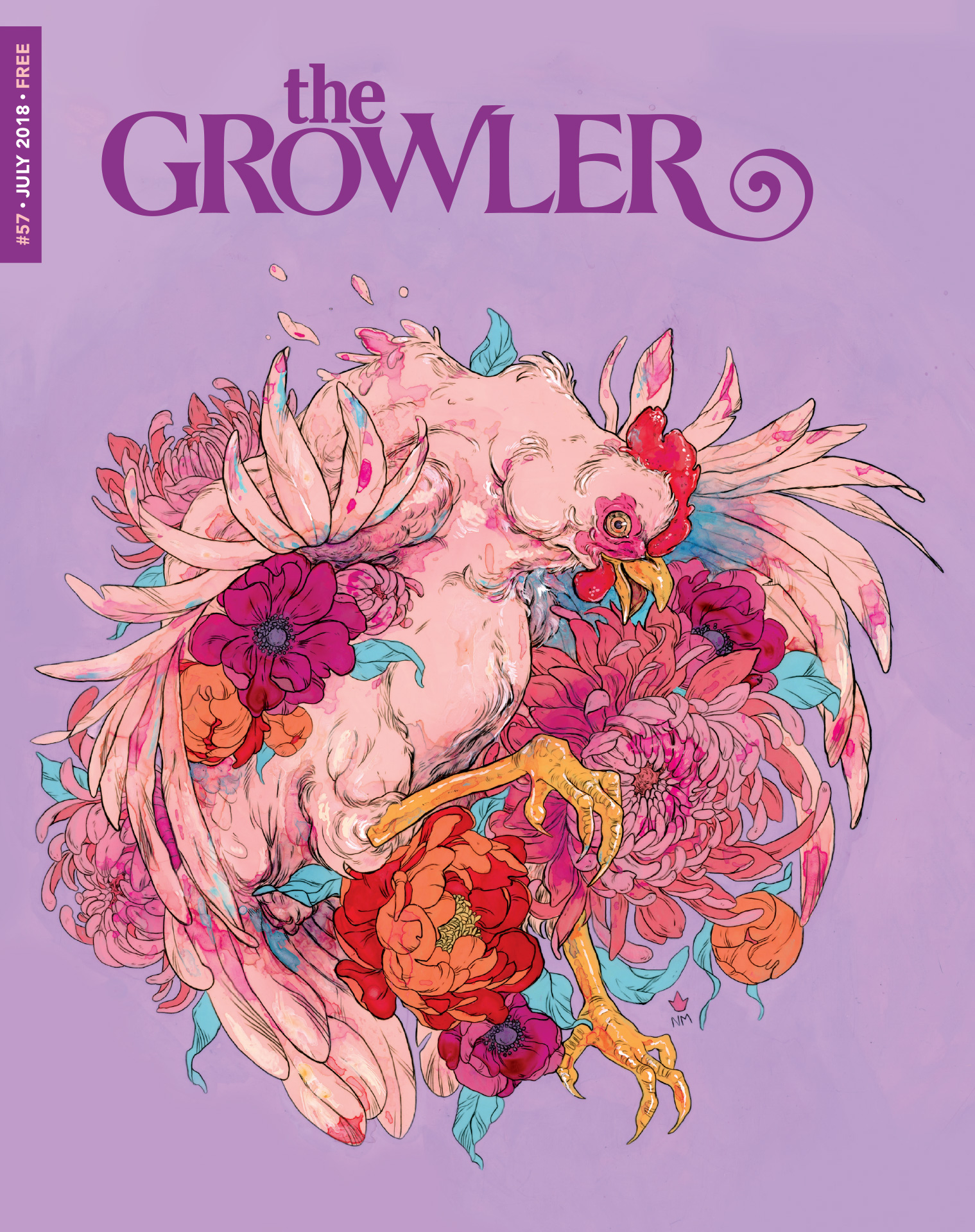 "The Growler's Issue 57 cover art. ""Animals"" // Art by Niky Mote"