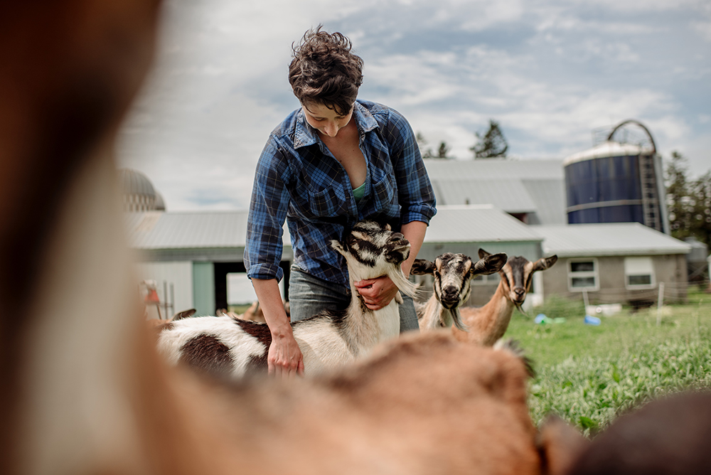 Katie Bonow with her goats at Capra Nera Creamery in Altura, Minnesota // Photo by Becca Dilley