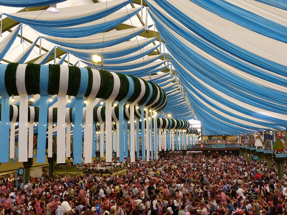 Oktoberfest in Munich inside a brewery tent // Photo by Roman Boed, Flickr