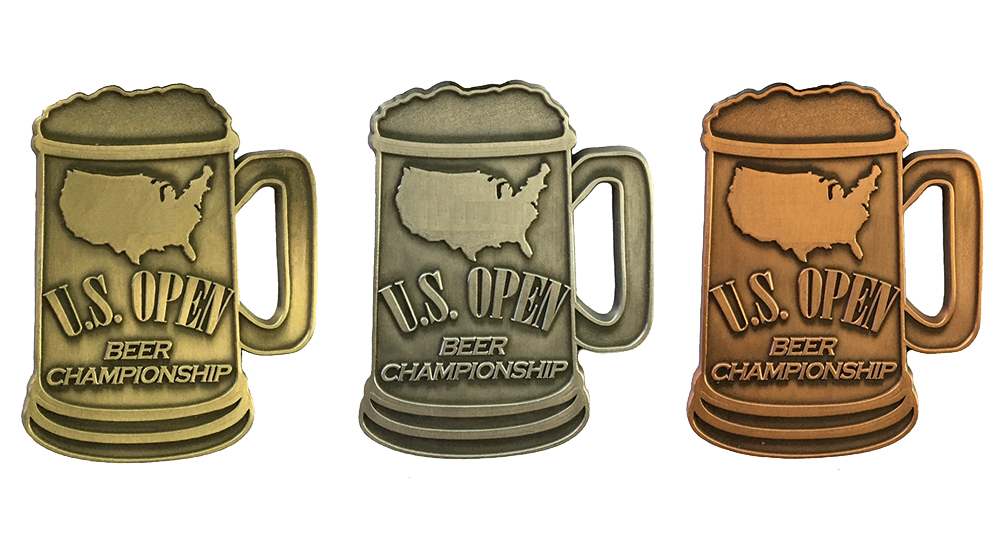 Gold, silver, and bronze medals from U.S. Open Beer Championship // Courtesy of U.S. Open Beer Championship