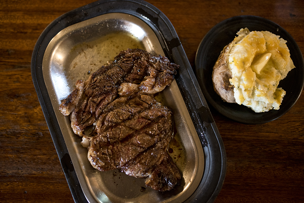 Ribeye and twice baked potato at Bergen Bar & Grill // Photo by Stephen Maturen