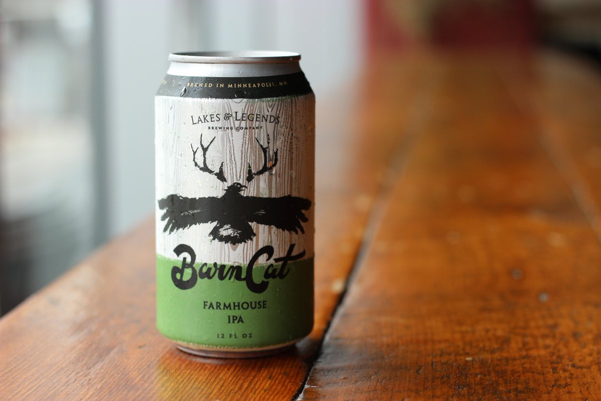 Lakes & Legends Brewing Company's Barn Cat Farmhouse IPA // Photo via Lakes & Legends Brewing Company Twitter