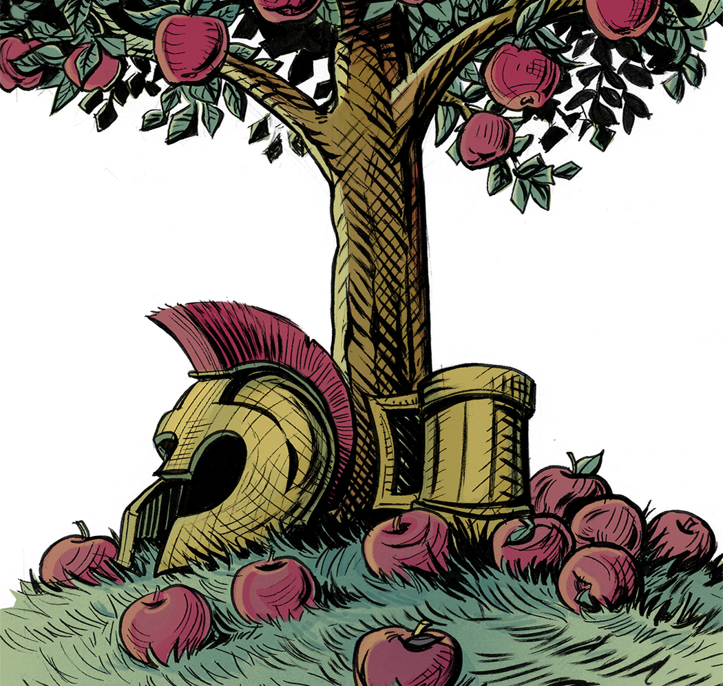 The Romans gave us the first records of cider—in 55 B.C., Julius Caesar invaded Kent, England, and found people drinking an alcoholic, cider-like beverage fermented from native crab apples. // Illustration by Michael Iver Jacobsen