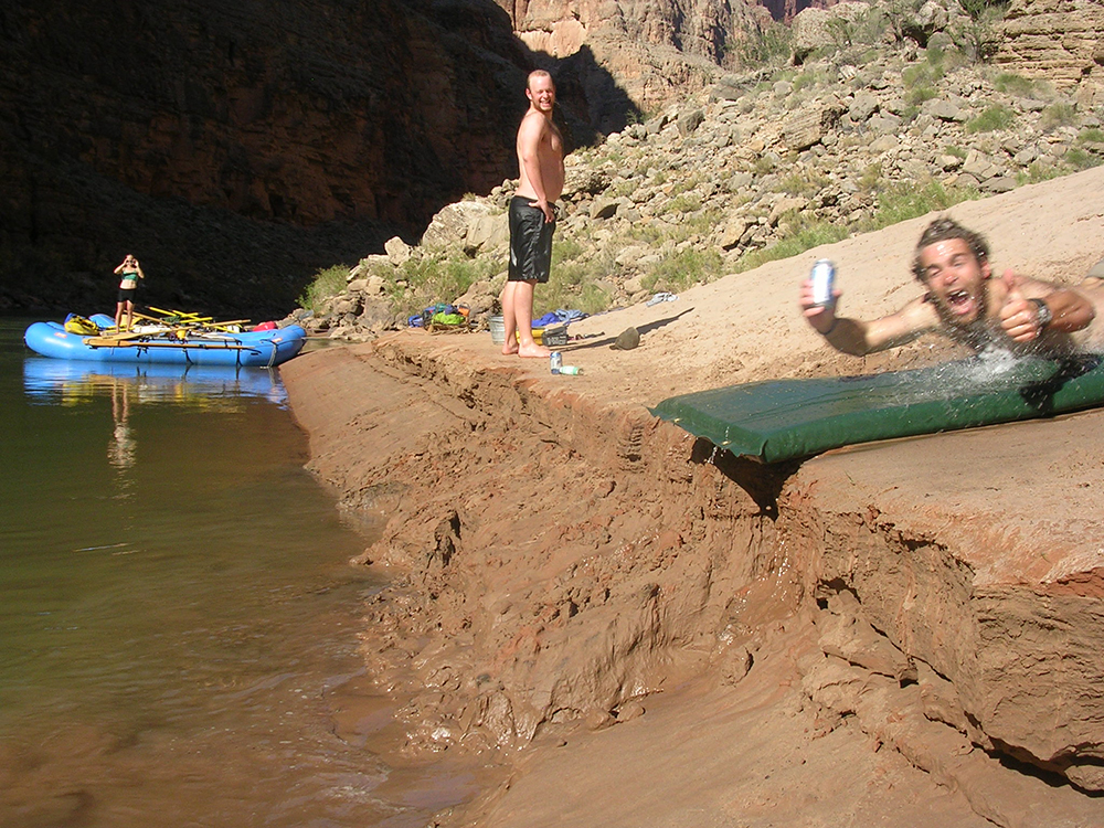 Rafters relaxing and sliding into the Colorado River // Photo by James Hancock
