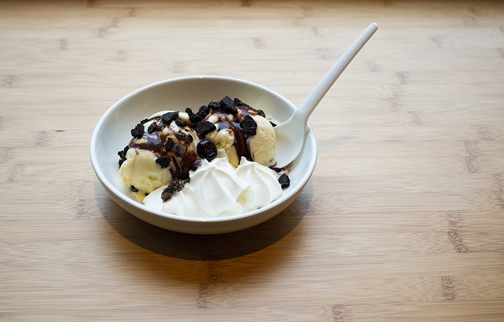 Sweet Chow's Hot Fudge Sundae with two scoops Vanilla ice cream, oreo crumbles, and hot fudge // Photo by Aaron Job