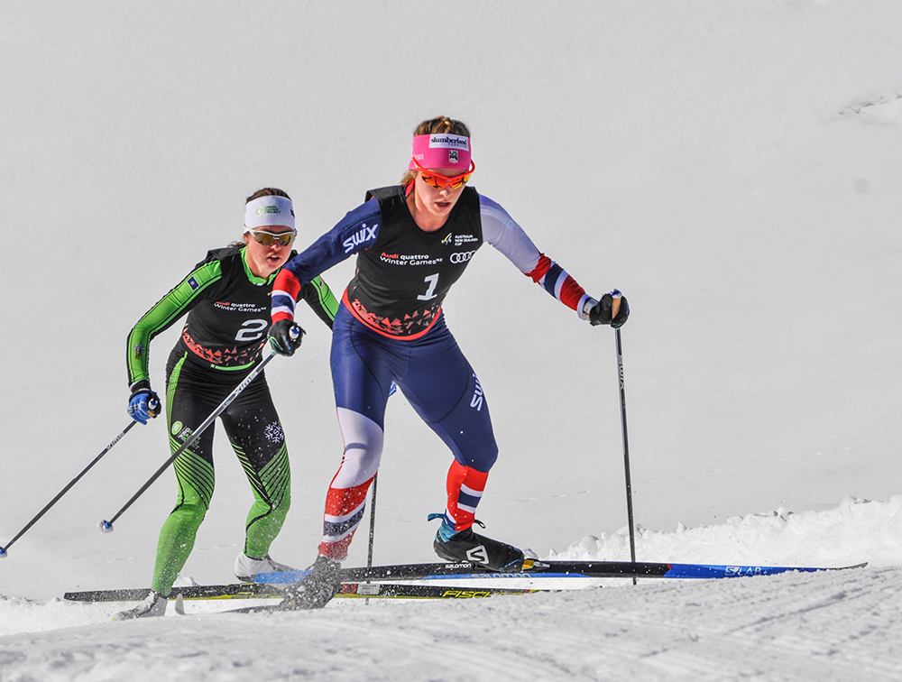 Jessie leading Caitlin Patteron in day 3 of the New Zealand Winter Games - a 10k classic race won by Jessie // Photo by Matt Whitcomb