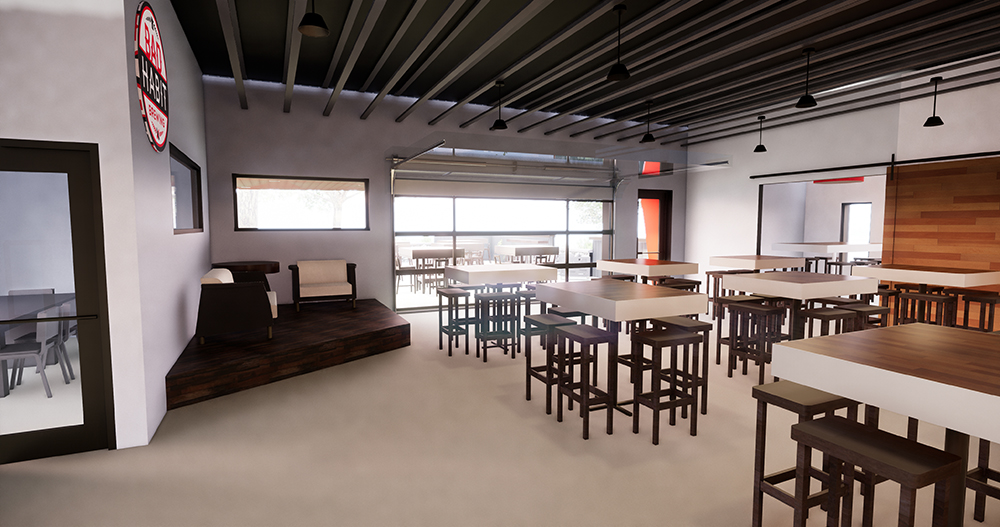 A rendering showing the planned interior taproom looking toward the patio seating area // Image courtesy Bad Habit Brewing Company