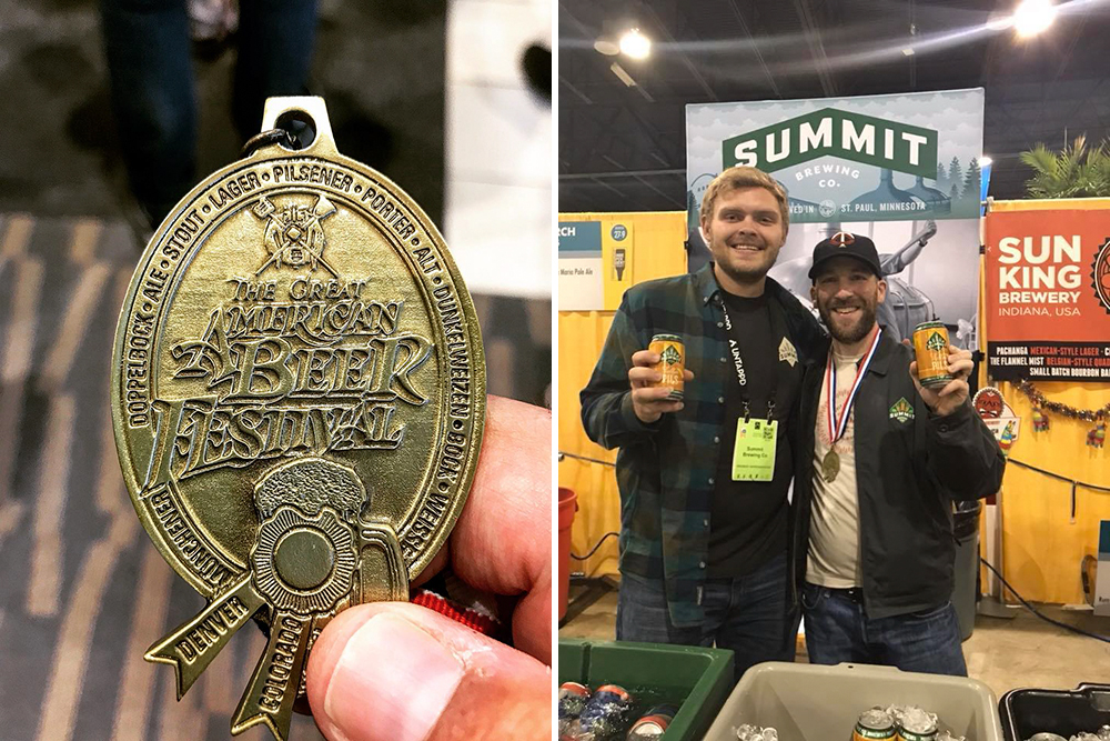 Left: Bent Paddle's gold medal for its Saison // Photo via Bent Paddle Brewing's Facebook. Right: Summit Brewing Company employees pose with their gold medal for Keller Pils // Photo via Summit Brewing's Facebook