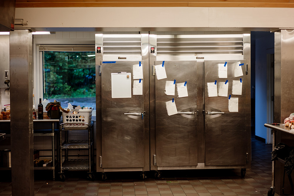 The handwritten recipes taped to a fridge in the Wild Rice Center kitchen // Photo by Becca Dilley