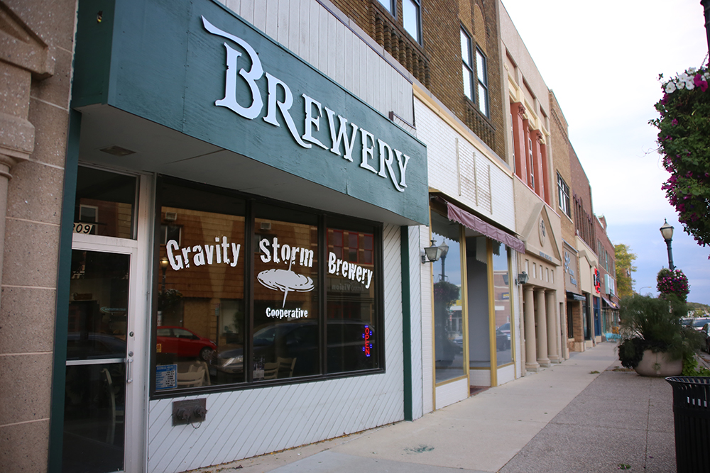 The exterior of Gravity Storm Brewing in Austin, Minnesota // Photo by Louis Garcia