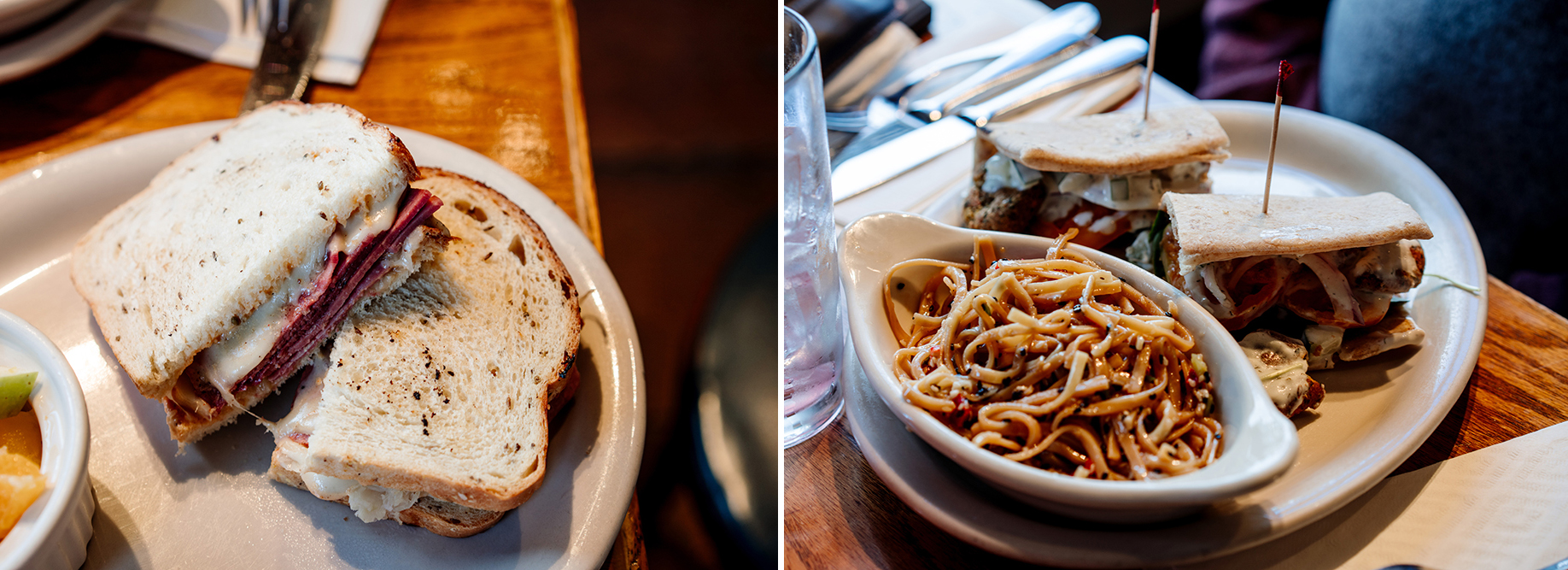 Left: The Rueben Sandwich. Right: The Falafel Sandwich // Photos by Becca Dilley