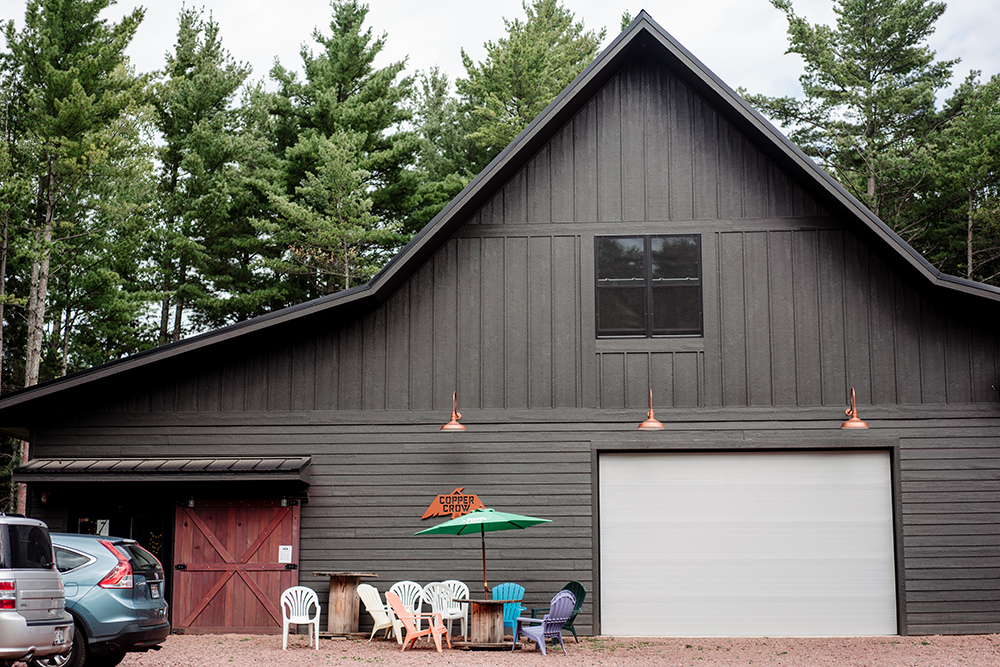 The exterior of Copper Crow Distillery in Bayfield, Wisconsin // Photo by Becca Dilley
