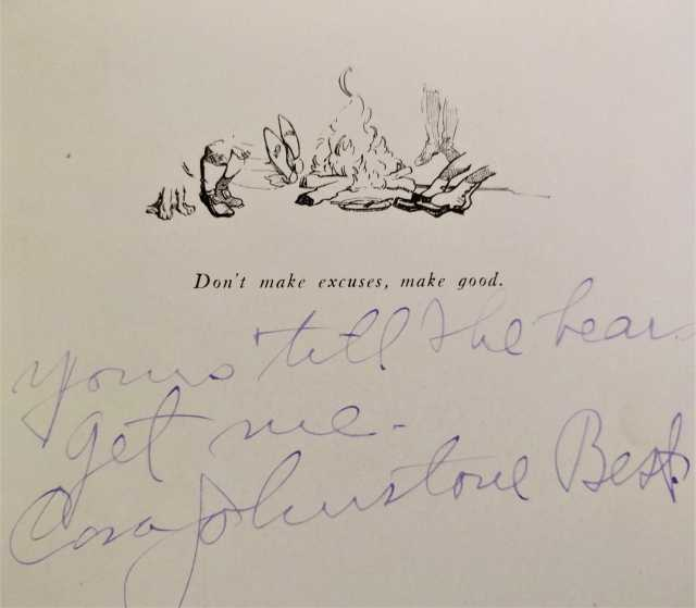 "Autograph of Johnstone Best found in a Trail Riders of the Canadian Rockies pamphlet, which reads ""Yours 'till the bears get me, Cora Johnstone Best."" // Photo via personal collection of Cheryl Jacklin-Piraino, Minnesota Historical Society"