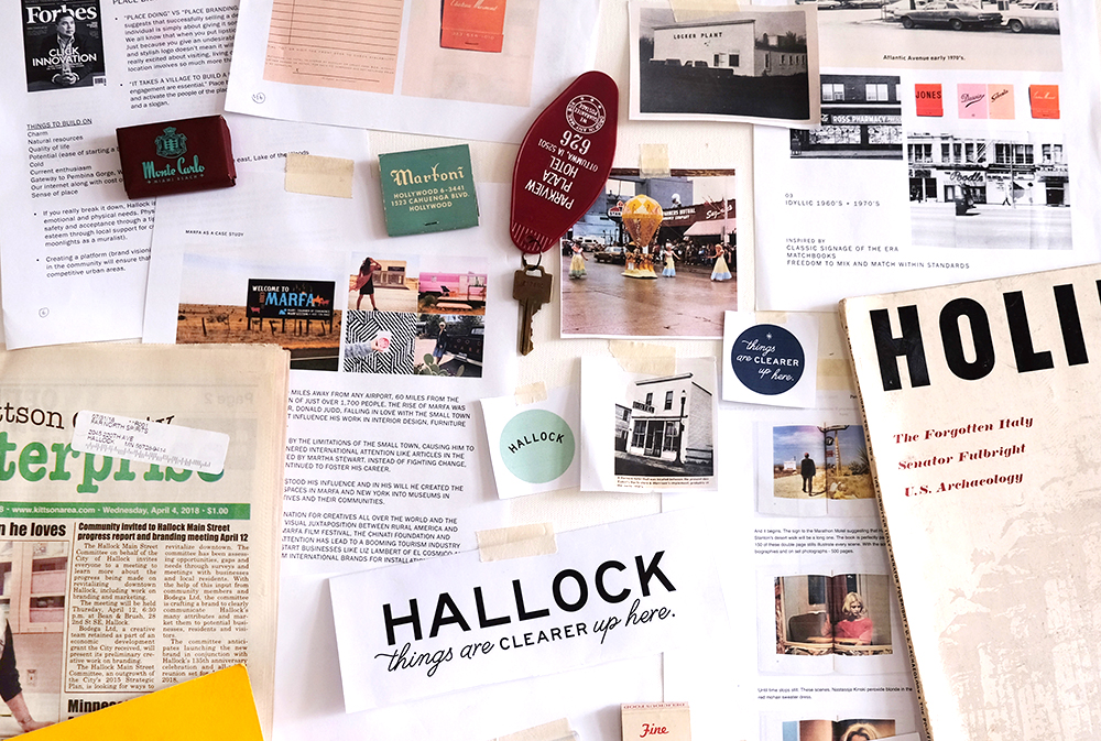 An idea board used by Bodega Ltd. during the research phase of their rebranding of Hallock, Minnesota // Photo courtesy Bodega Ltd.