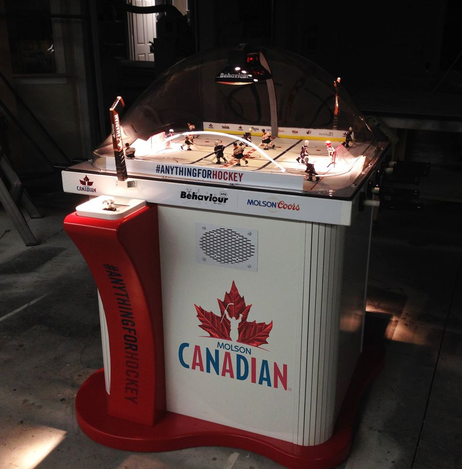 In 2015 the company released a Molson Canadian Beer dispensing version. The game winner gets a cold beer // Photo via Super Chexx website